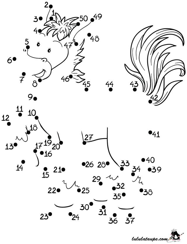 Jeu imprimer relier les points de 1 50 lulu la - Relier des points ...