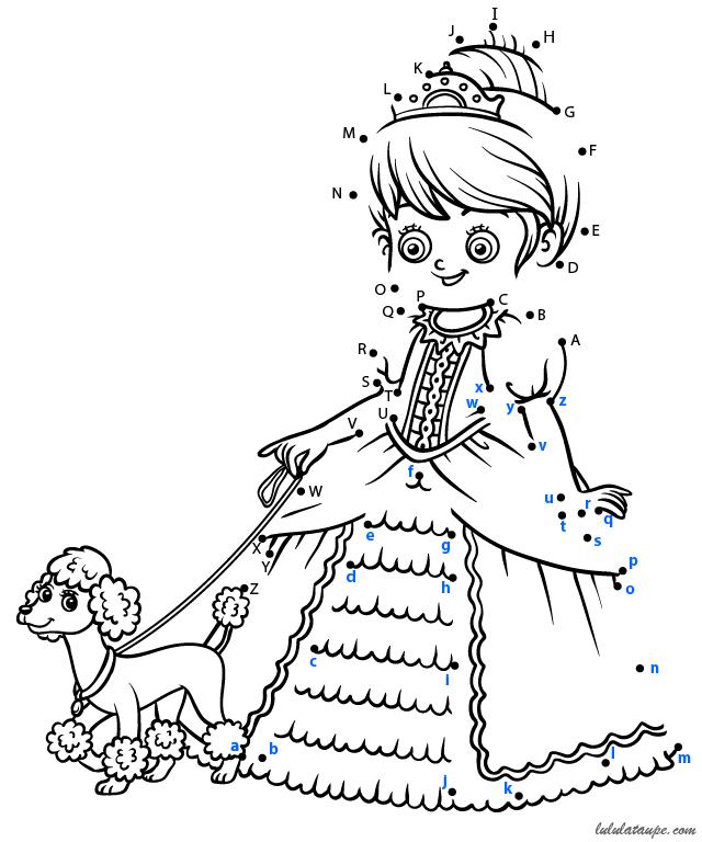 Relier les points alphabet imprimer la princesse et son - Point a relier gratuit ...