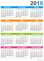 Calendrier  2018 simple en couleurs
